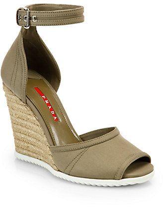 146d80c84 Prada Canvas Espadrille Wedge Sandals on shopstyle.com | Espadrilles ...
