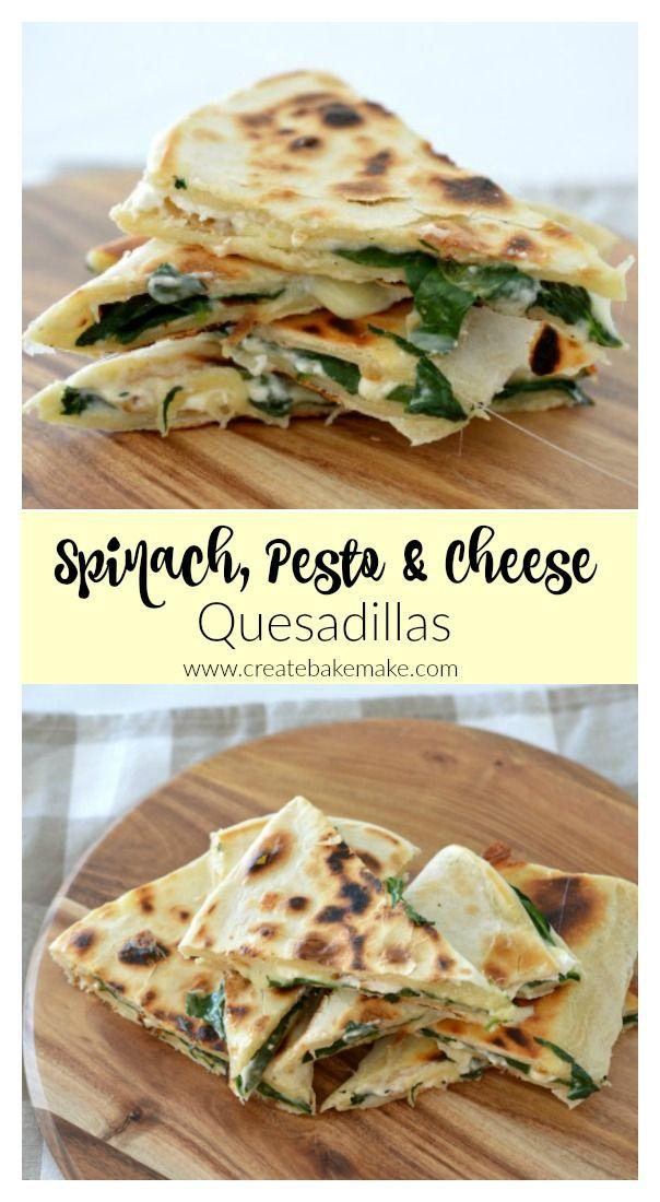 Spinach Pesto and Cheese Quesadillas - Create Bake Make