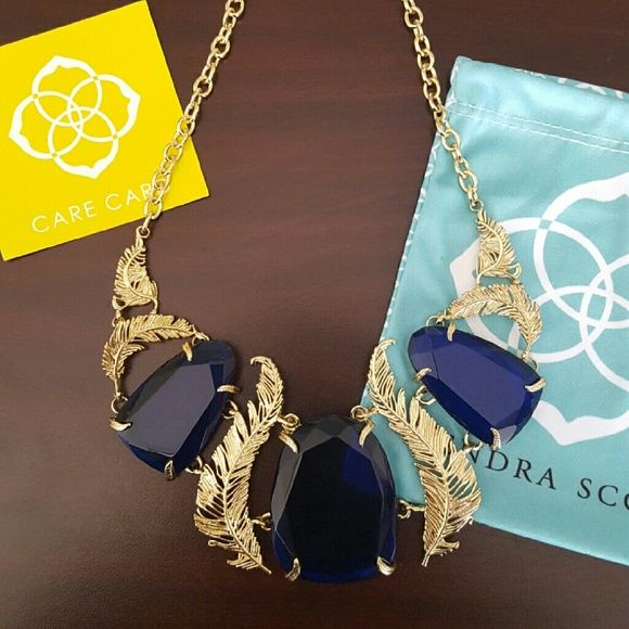 Kendra Scott Retired Statement Necklace Cobalt A true showstopper! Absolutely gorgeous, HTF Kendra Scott statement necklace in gold with beautiful, faceted cobalt blue stones and feather detailing. Similar in size to Harlow- Retired style, limited amount in circulation. Ships w/ Kendra Scott dust bag and care card. Kendra Scott Jewelry Necklaces