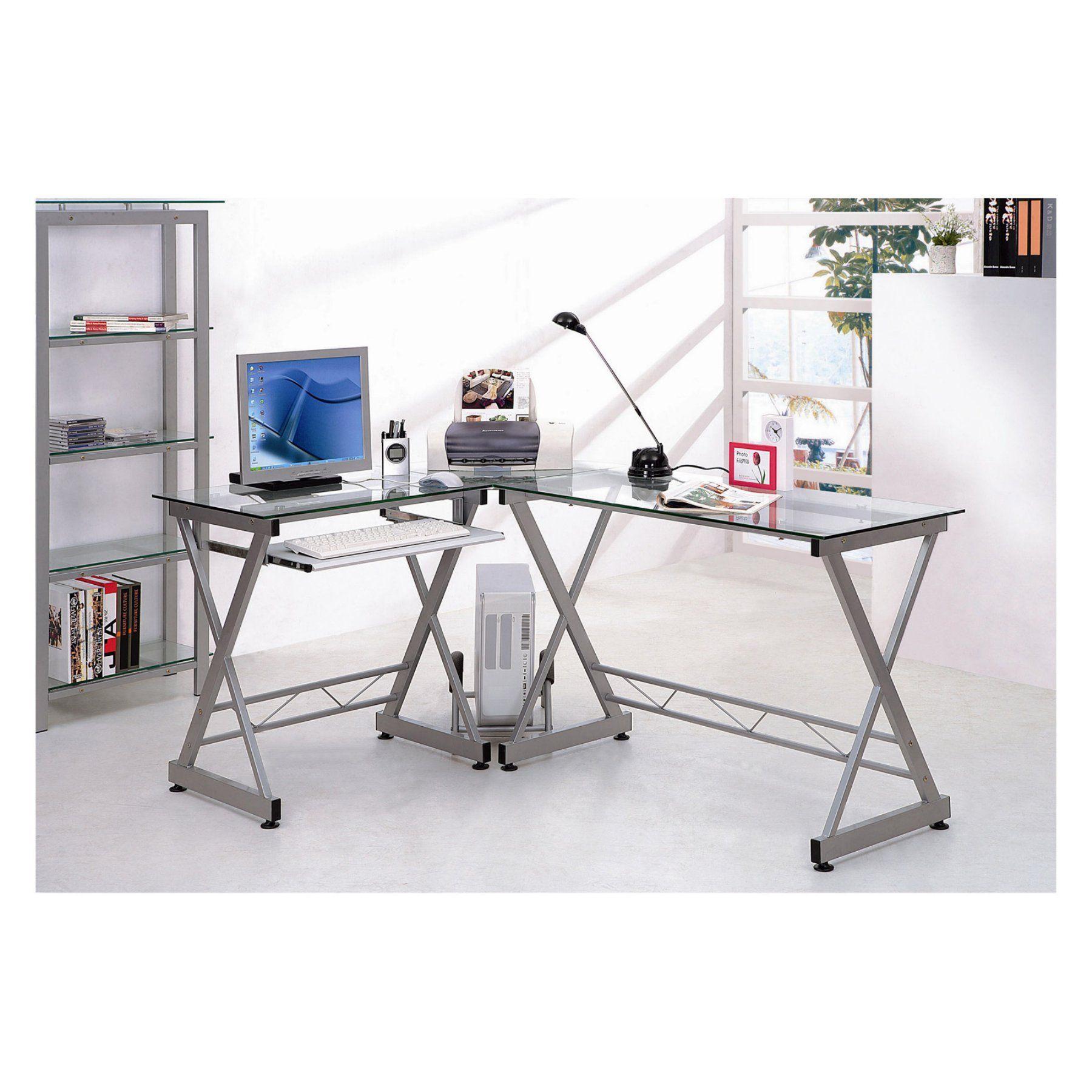 Techni Mobili L Shaped Computer Desk Glass Glass Computer Desks Computer Desk Home Office Furniture
