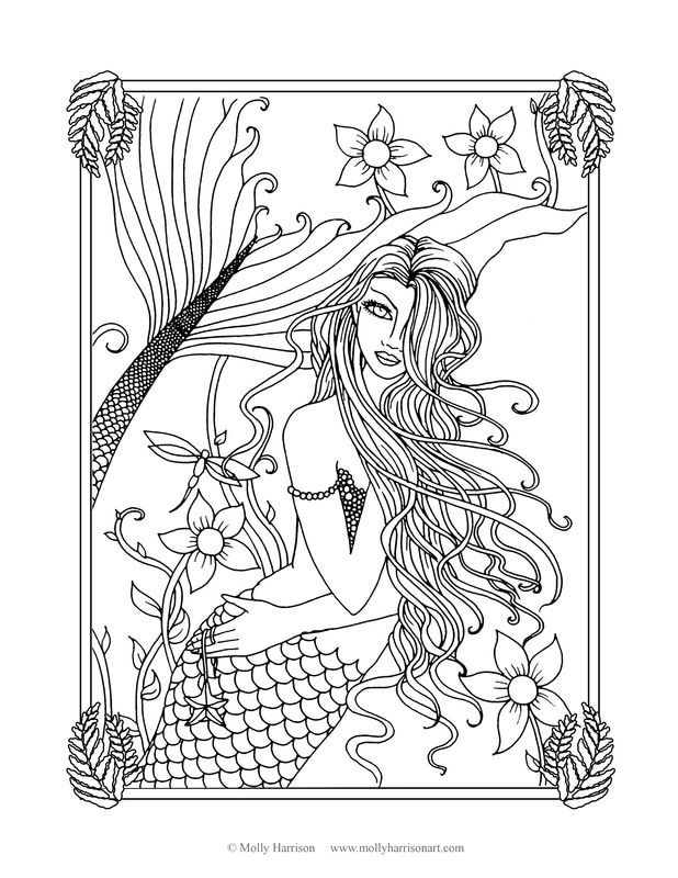 Mermaid Coloring Sheet | Adult Coloring Books + Sheets | Pinterest ...