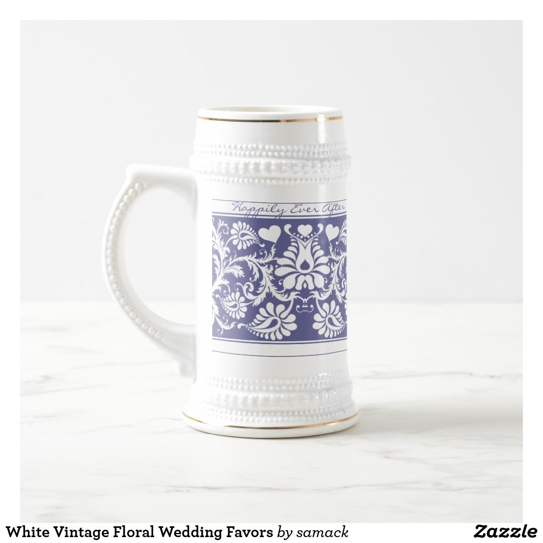 White Vintage Floral Wedding Favors Beer Stein | Wedding Barware ...