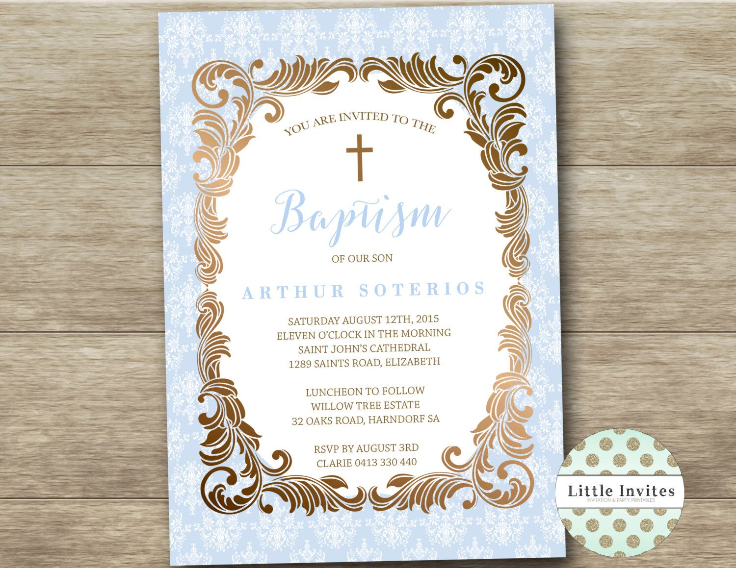 Boys baptism invitationblue damask with gold ornate frame boys baptism invitationblue damask with gold ornate frameprintableroyal prince stopboris Gallery