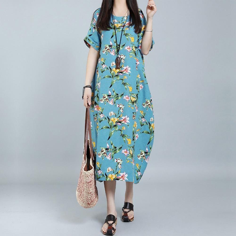 3b319766ed4fd Women Vintage Cotton Loose Dress Summer Floral Printed O-Neck Short ...