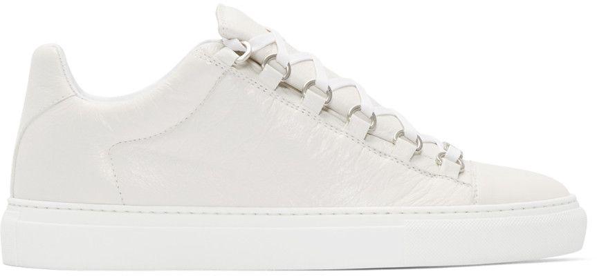 a75337d0c986 BALENCIAGA Off-White Cracked Leather Arena Sneakers.  balenciaga  shoes   sneakers