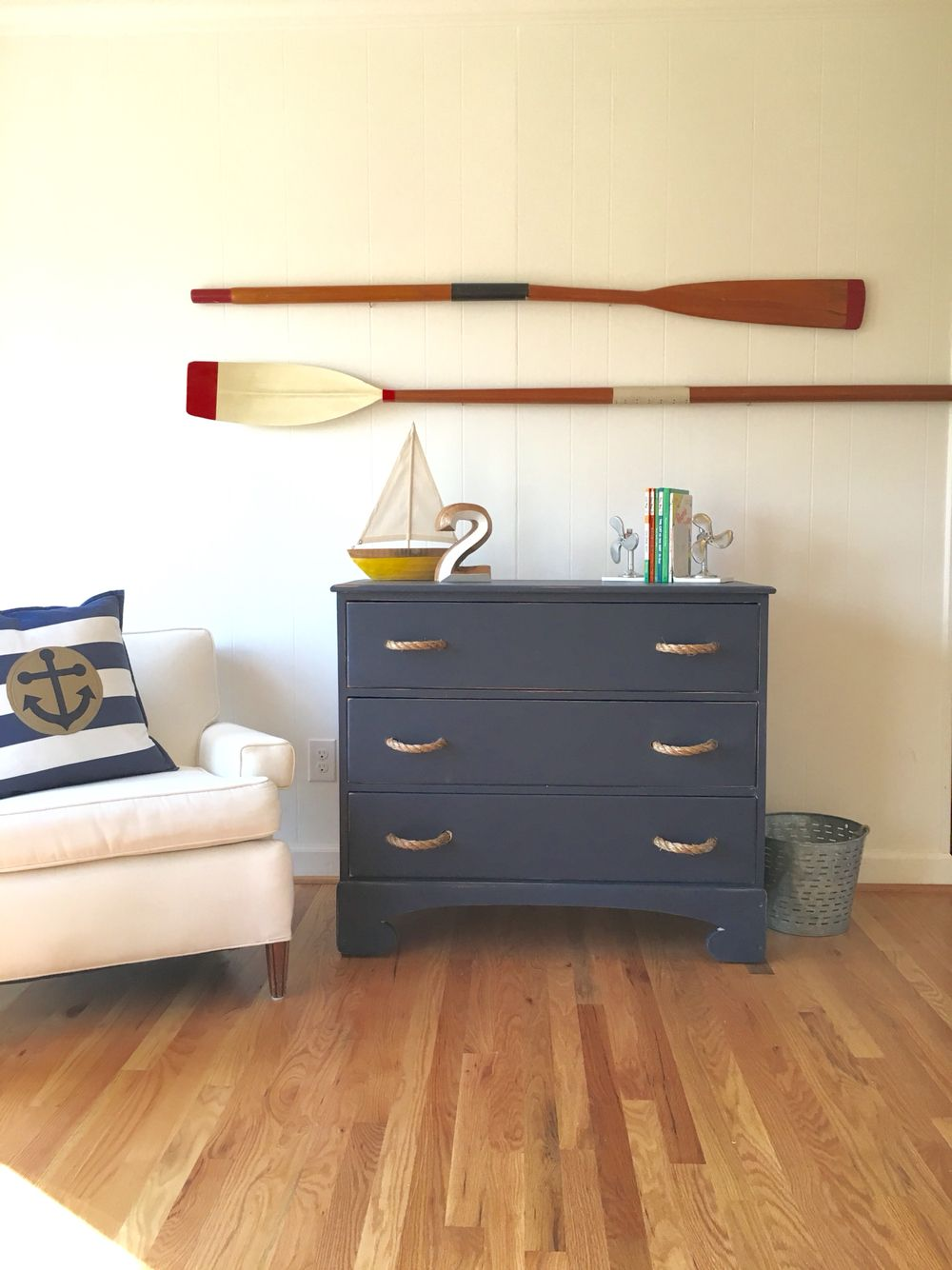 Nautical Dresser Painted In Old Navy With Custom Rope Pulls Clic Timeless Design Erinadesign