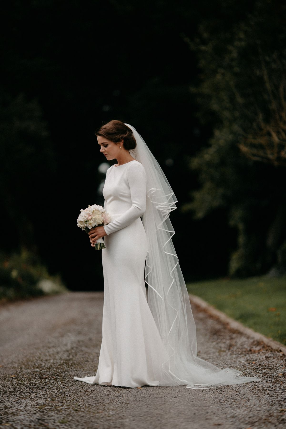 A Long Sleeved Chic And Sophisticated Pronovias Gown For An Elegant