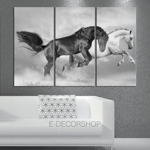 Large wall art 3 panels canvas print wild black and white horses canvas animal wall