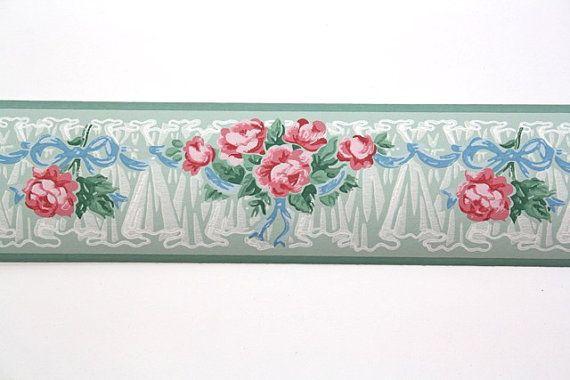 Full Vintage Wallpaper Border Trimz Pink Roses Floral Etsy Vintage Wallpaper Wallpaper Crafts Wallpaper Border