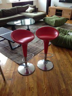 2 Bombo Bar Stools - Red —