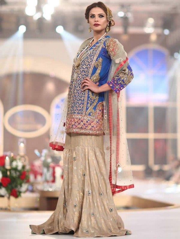 Latest trend of wedding sharara dresses collection 2016 2 for Current wedding dress trends