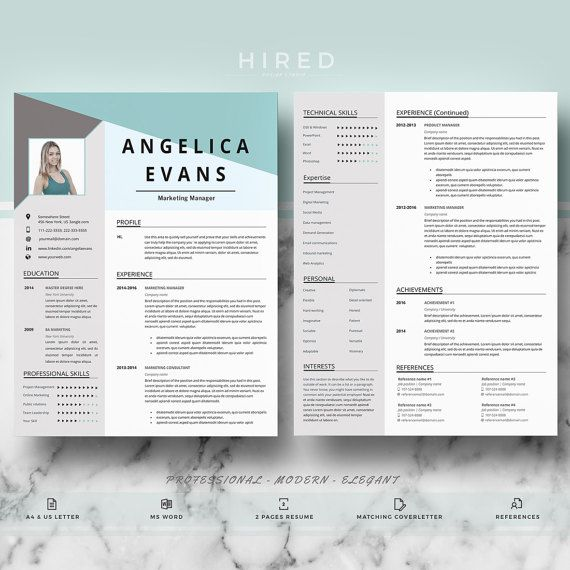 Resume template Professional Resume for Word CV + Cover Letter - references on a resume template