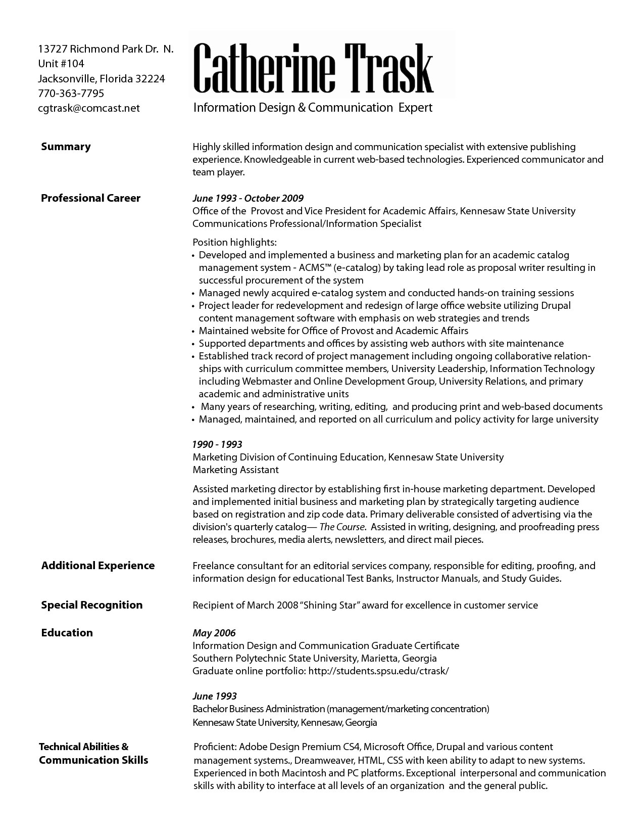 resume examples communications specialist