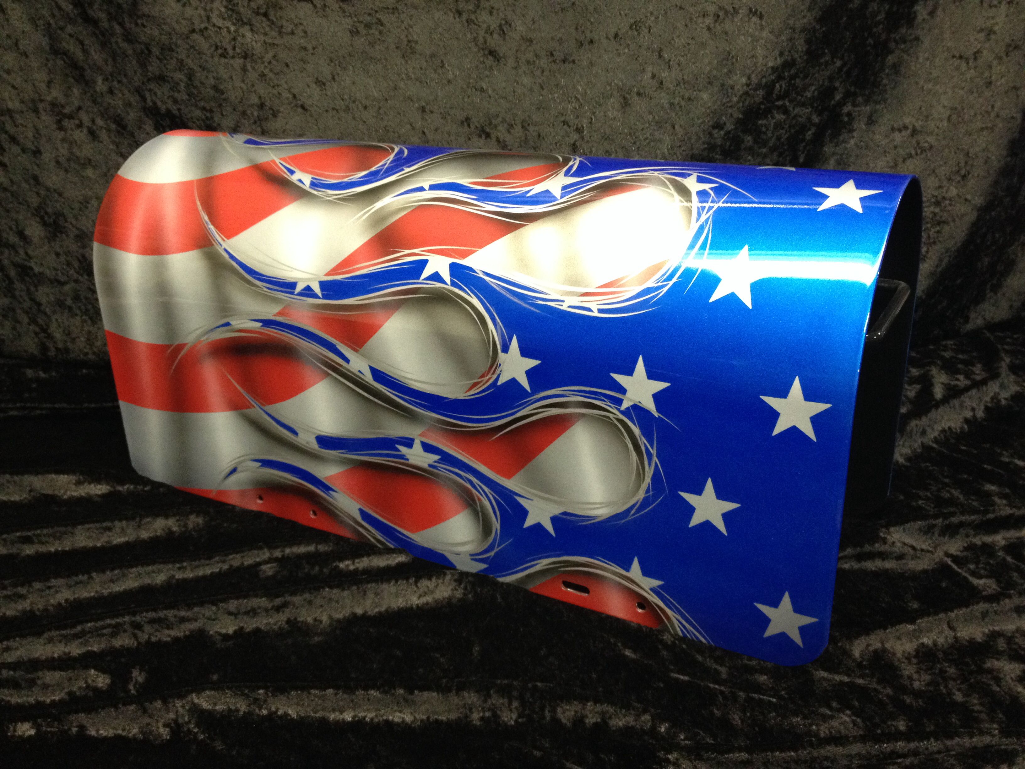 Flame American Flag Graphics Steel Mail Box