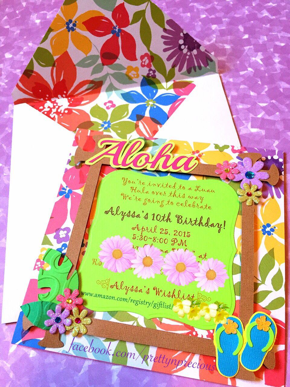 Luau Party handmade invitation