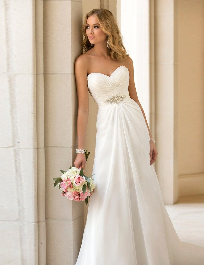 Sexy chiffon beach wedding dress vintage boho cheap wedding dress