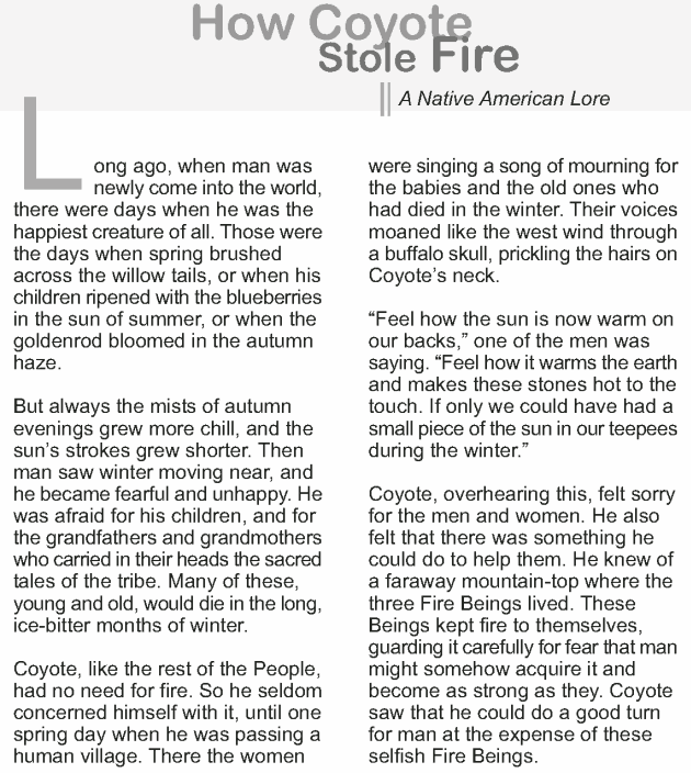 Grade 9 Reading Lesson 19 Myth and Folklore - How Coyote Stole ...