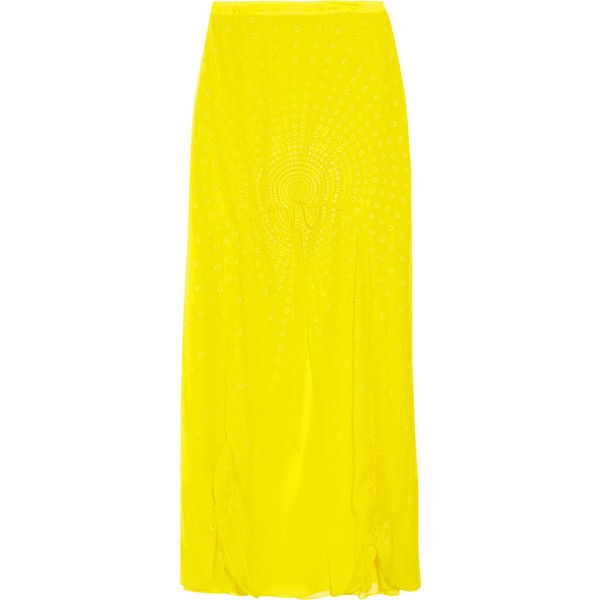Vera Wang Drawstring silk-chiffon maxi skirt ($975) ❤ liked on Polyvore