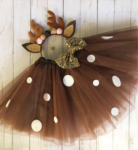 Deer costume – girls deer outfit – brown deer tutu – Christmas outfit – tutu costume – deer antler h