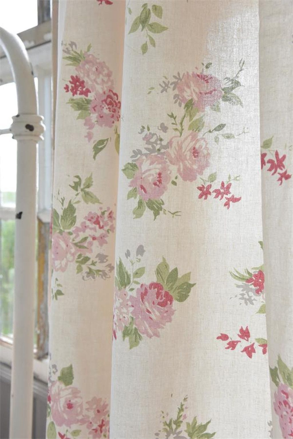 curtain with big flowers products flower curtain cottage rh pinterest com au