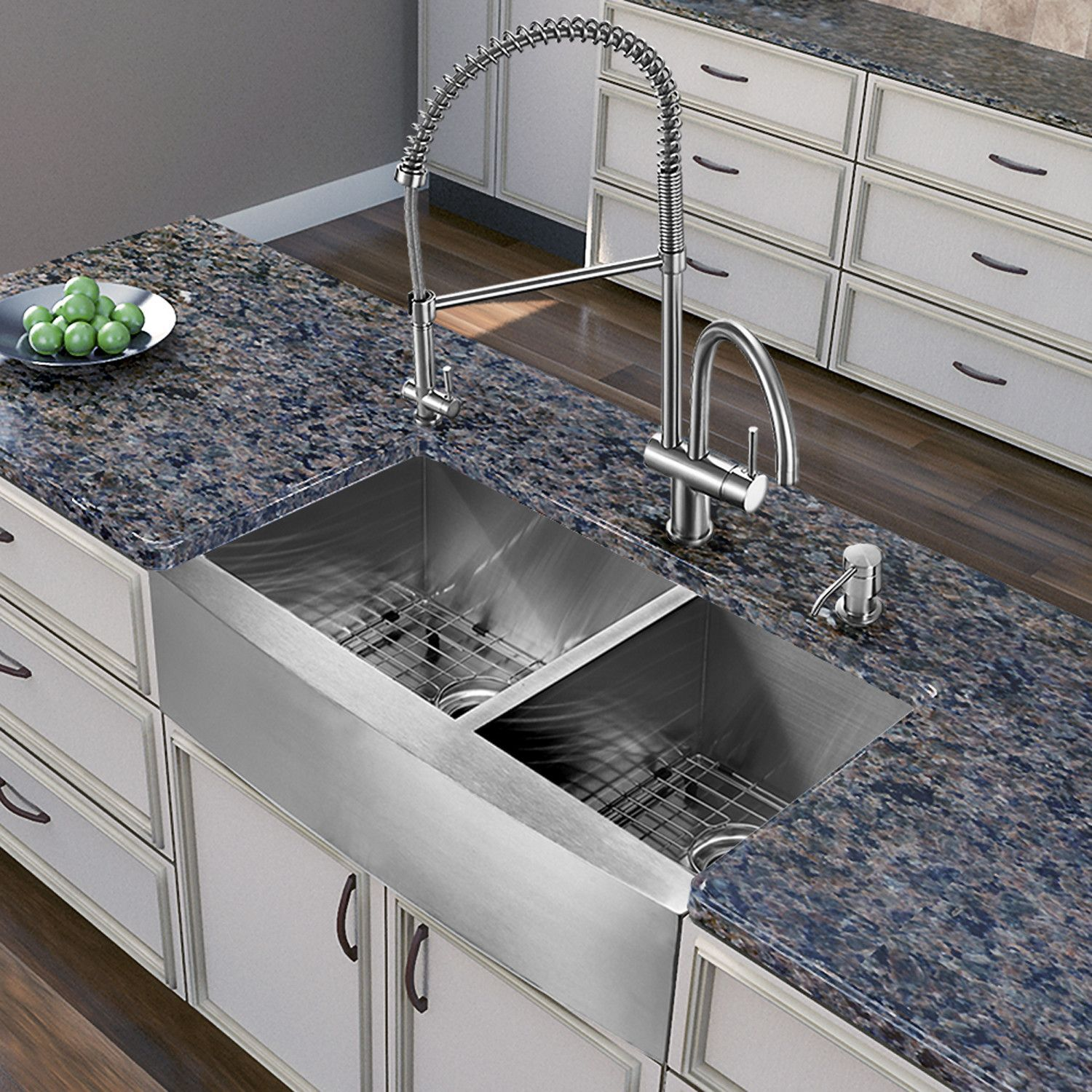 "Bingham 36"" L x 22"" W Double Basin Farmhouse Kitchen Sink"