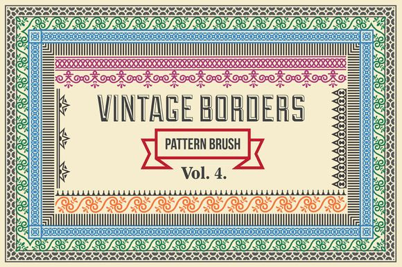 Vintage Borders Pattern Brushes 4 by G7 on @creativework247
