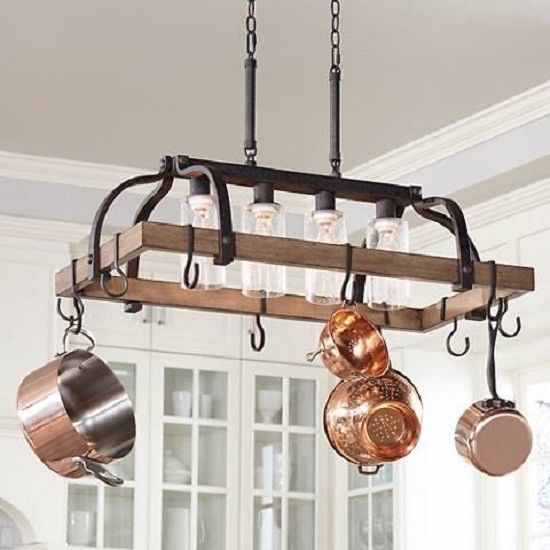 Pots And Pans Hanging Rack Bronze Rustic Wood Chandelier 4