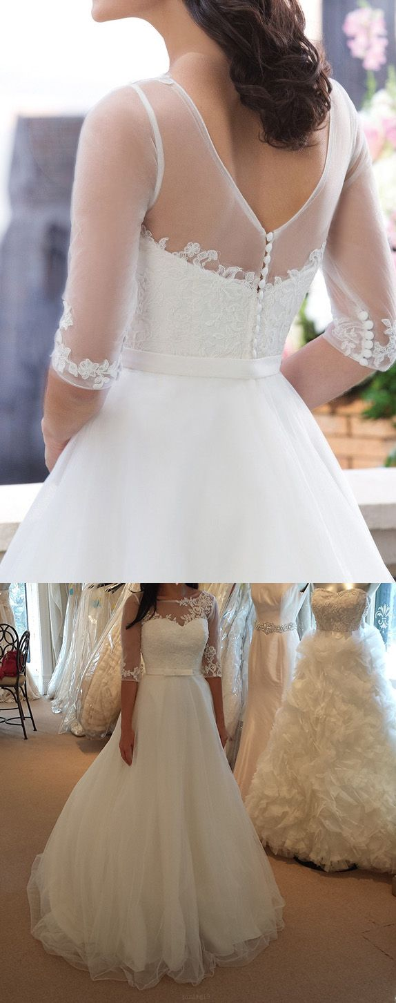 Outlet applique white wedding dresses nice long bateau sleeves