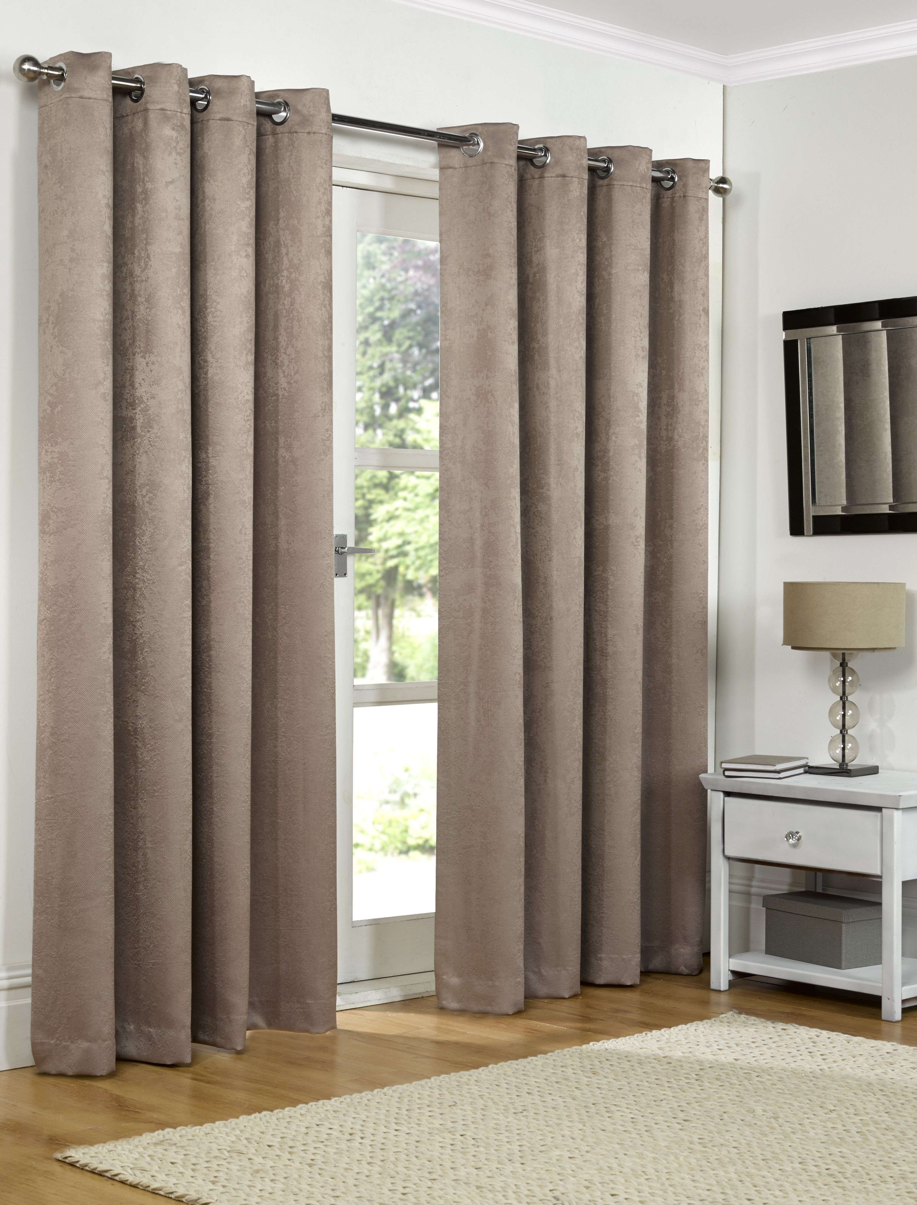 66x54in 168x137cm Mink Brown Blackout Eyelet Curtains