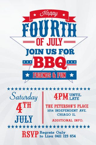 4th of july printable invitation template happy 4th july in 2018
