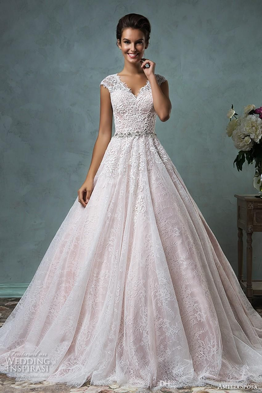 Amelia sposa 2016 wedding dresses blush pink cap sleeves for Pink wedding dresses pictures