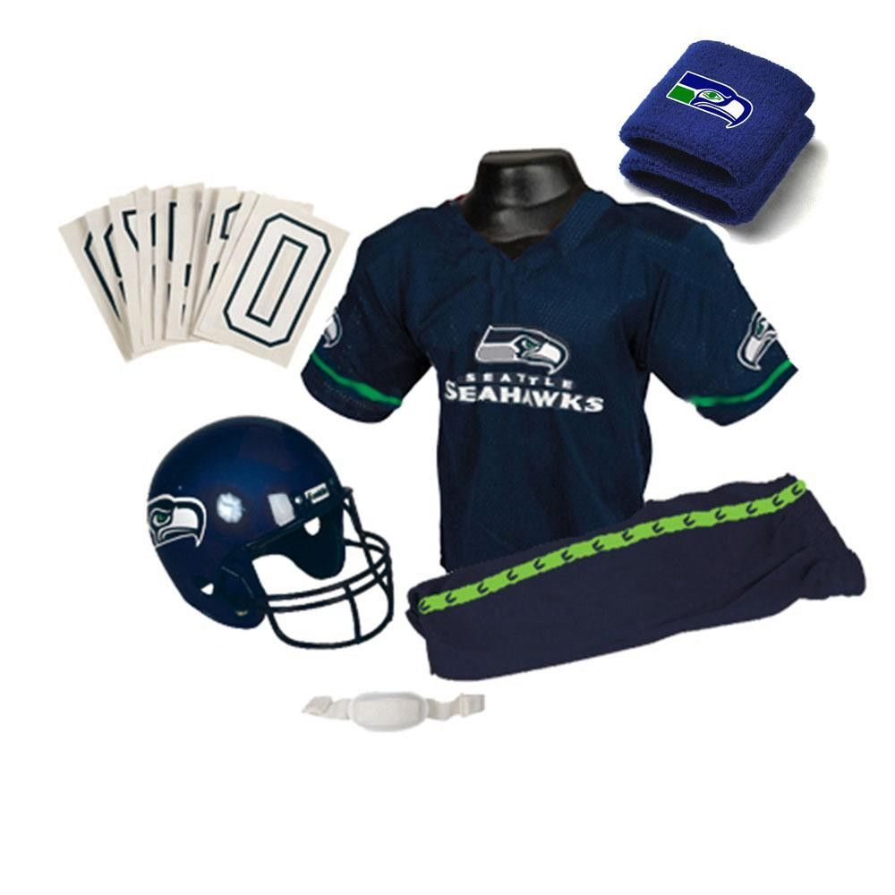 fd81f6e3a2ba2 Seattle Seahawks Youth NFL Supreme Helmet and Uniform Set (Medium) Team  Uniforms, Football