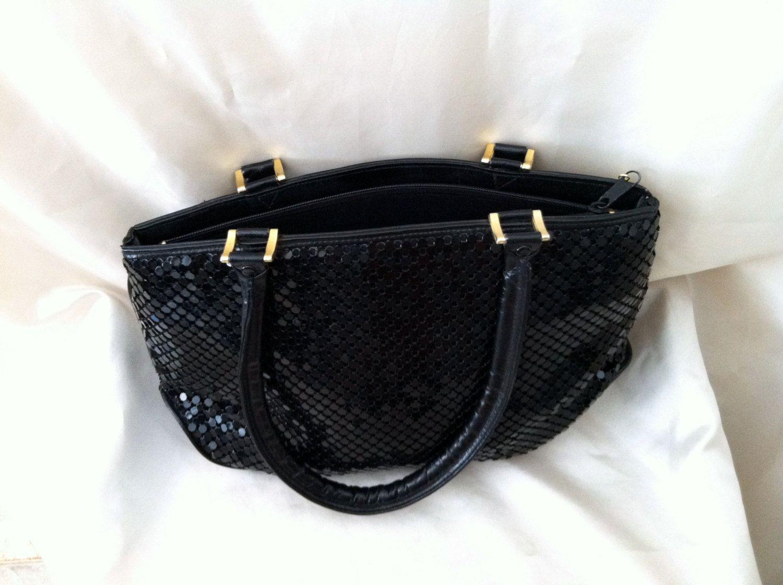 Vintage Designer Black Purse. Bueno. Black Chainmail Mesh Purse. 1980s. $22.00, via Etsy.