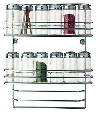 Space-saving spice savers! 12 Bottles with Wall Rack - by RSVP - WALL | StylishHome Mounts on the inside of a cabinet door or on your kitchen wall.