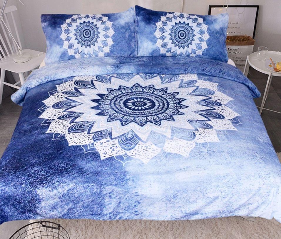 Fantastic Blue Mandala Bedding Set Mandala Sheets Mandala Bedspread Boho Bedding Bohemian Bedding Mandala Boho Comforters Mandala Bedding Boho Bedding Sets
