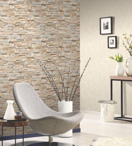 vliestapete stein 3d optik beige mauer p+s 02363-10 | deko, Wohnzimmer