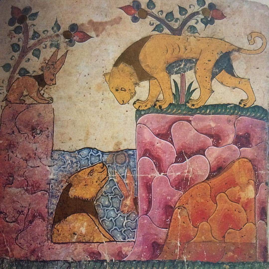 17 vind-ik-leuks, 2 reacties - Anne Israel (@anneisrl) op Instagram: 'Le lion et le lievre #miniaturesarabes#lion#reflet#colours#'