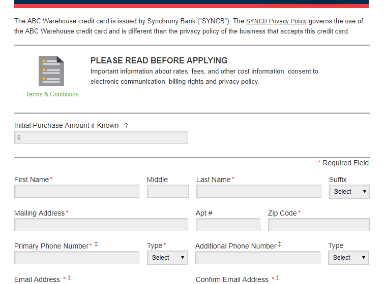 ABC Warehouse Credit Card Login and