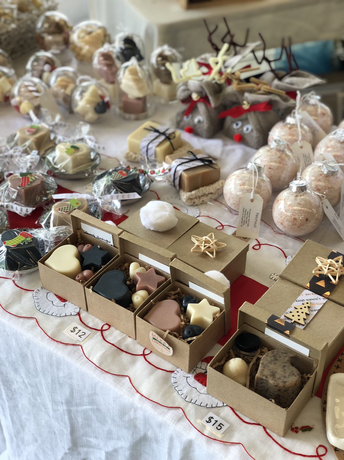 Variety of Christmas packaging and gifts made with natural
