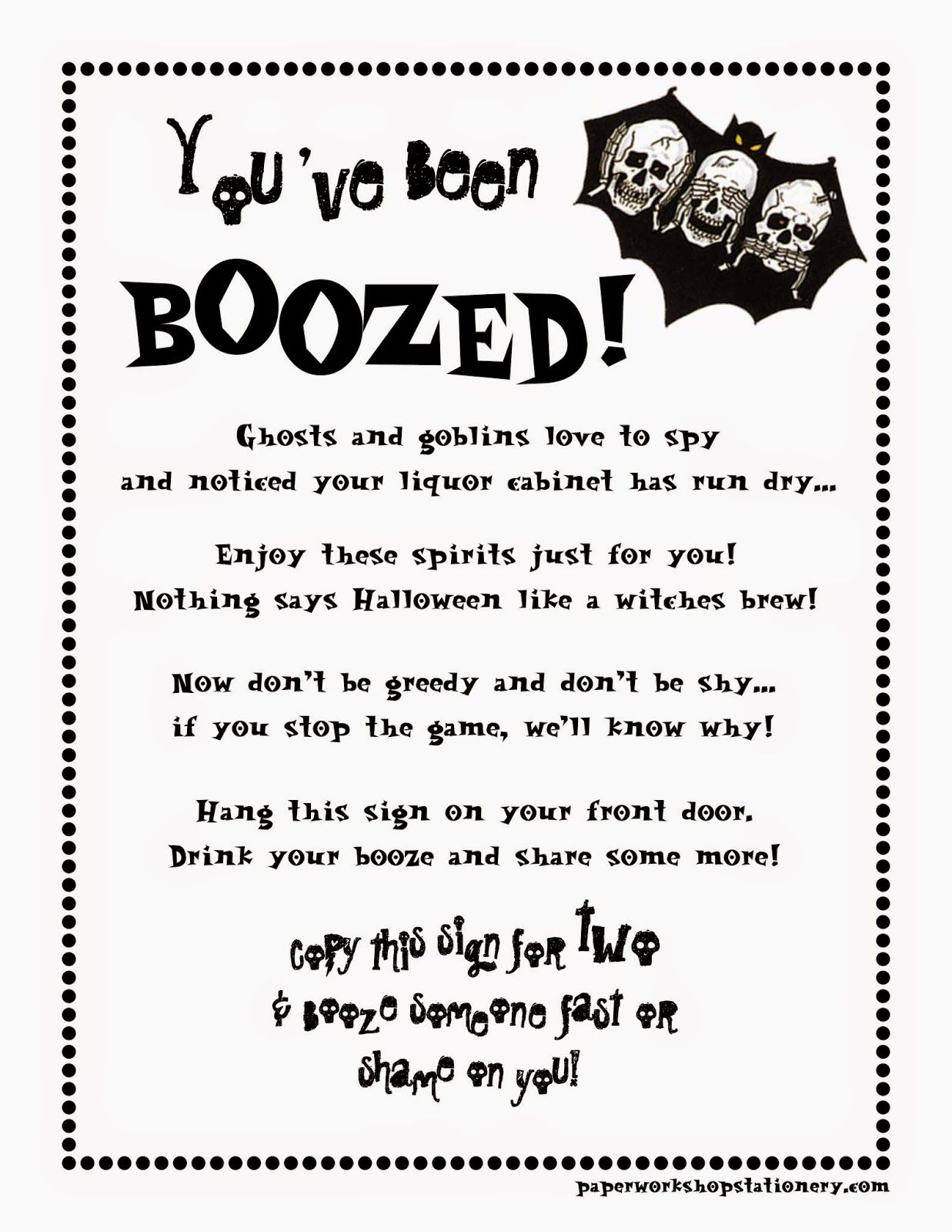 image about You've Been Boozed Printable called Youve been Boozed! Paperworkshop inside 2019 Halloween 2014