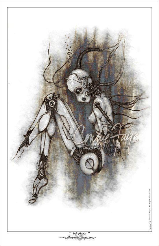 Broken Lady Robot Dark Art Illustrations Robots Drawing Illustration Art