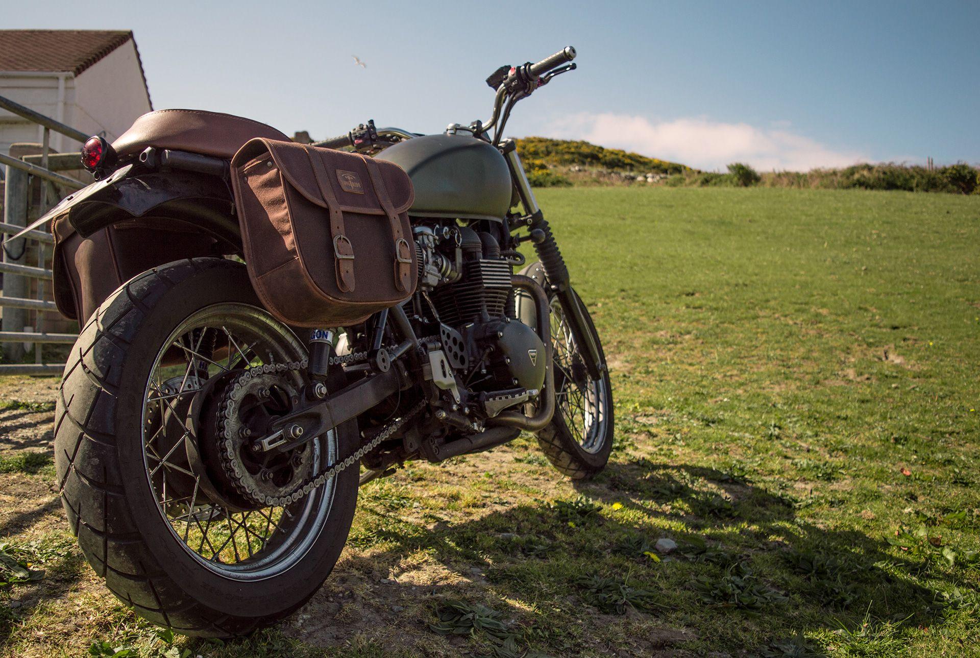 Brown Pannier Saddlebag Retro Motorcycle Ducati Scrambler