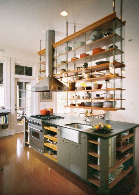 kitchen inspiration with open shelves sliding door design | 10 Open Kitchen Shelves Inspirations for a Nomadic Look ...