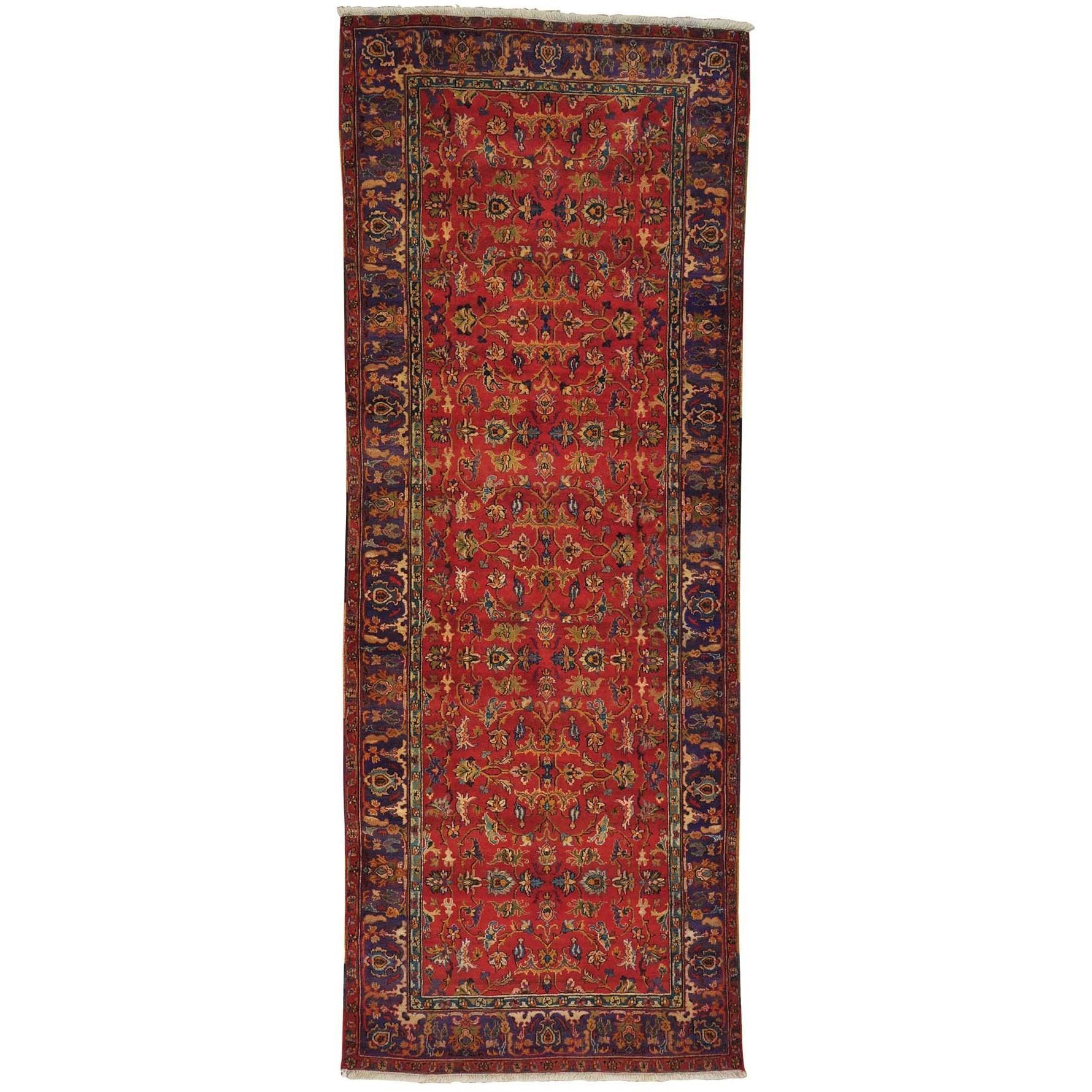 1800getarug Refurbished Handmade Wide Runner Golden Age Oriental Rug 4 2 X 10 7 Exact Size Red