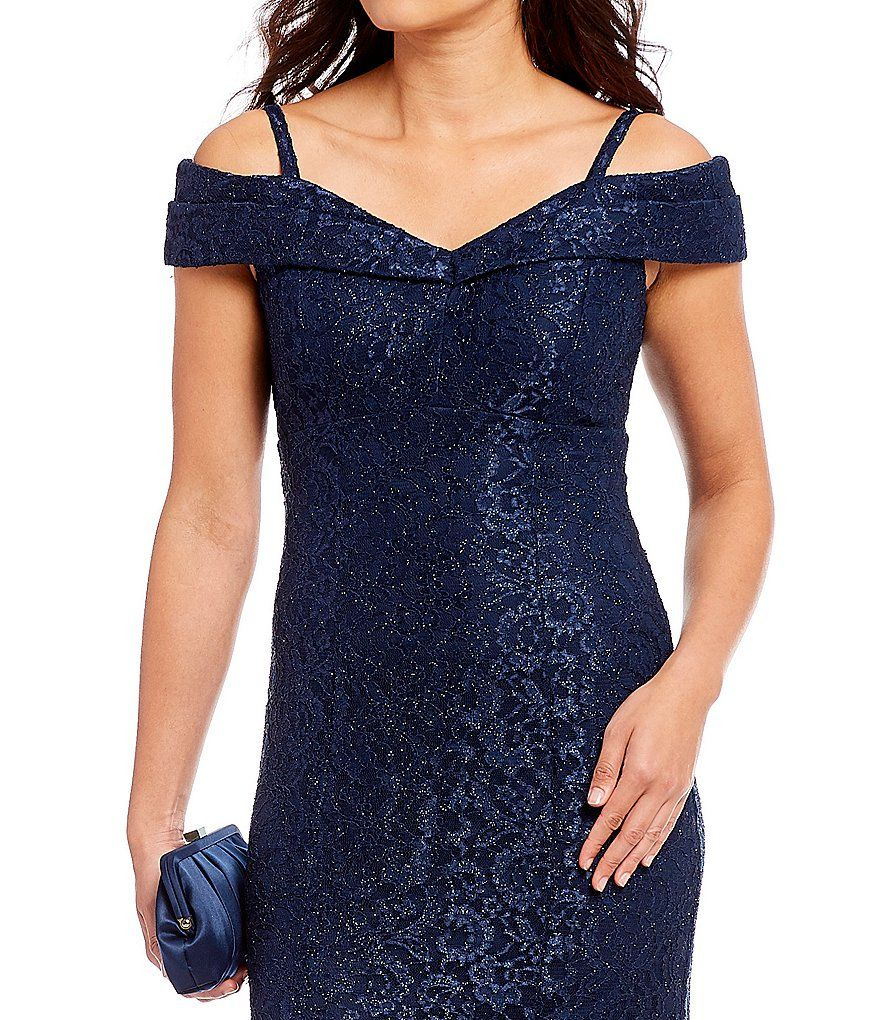 fbb857f9c78 Shop for R  amp  M Richards Off-the-Shoulder Sweetheart Lace Gown at. Visit