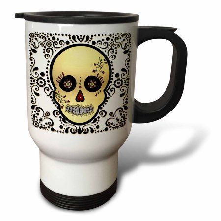 3dRose Sugar Skull Gold and Black, Travel Mug, 14oz, Stainless Steel