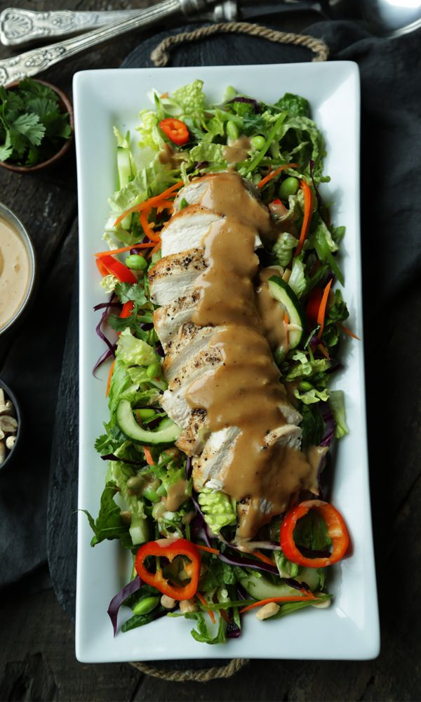 Thai Salad Recipe with Peanut Dressing, Vegetables, Chicken and Fresh Herbs!