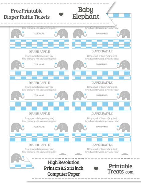 free baby blue checker pattern baby elephant diaper raffle tickets