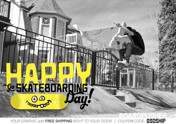 Use coupon code GSDSHIP now through June 21st to get free ground shipping on your entire www.BoardPusher.com custom skateboard order.