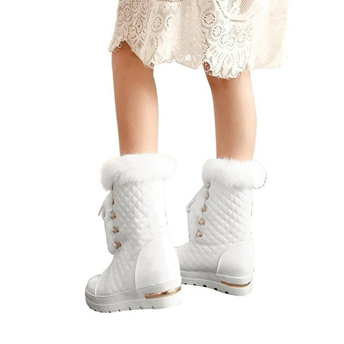 Women's Winter Leather Mid Calf Platform Waterproof Lace Up Thick Faux Fur Lined Rain Skiing Boot
